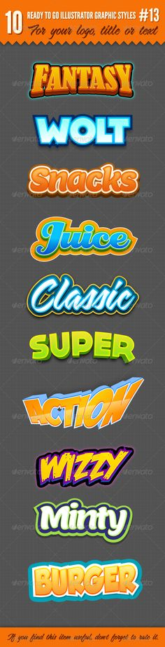 10 Logo Graphic Text Styles for Adobe Illustrator #design #ai Download: http://graphicriver.net/item/10-logo-graphic-styles-13/6758388?ref=ksioks