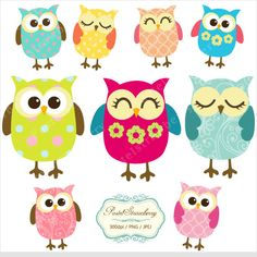 9+Owls++Personal+Or+Small+Commercial+Use+P047+by+pastelstrawberry,+$4.00