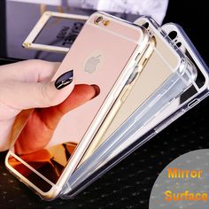 Rose Gold New Clear Cover For iPhone 6 6S Case Mirror case Aluminum TPU Back Phone cover for iPhone 6plus 6S plus accessories