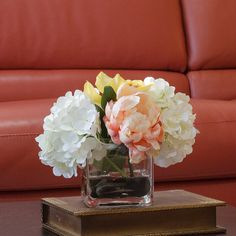 Hydrangea Orchid Silk Peonies Arrangement in White Peach with Real Touch Artificial Orchid Flowers in Square Glass Vase for Home Decor on Etsy, $82.00