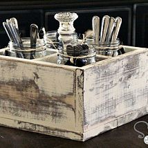 DIY vintage style soda crate with mason jars for flowers or party silverware!
