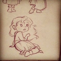 cared little girl with curly hair #art #drawing #draw #sketch #sketchbook #doodle #illustration #concept #character #design
