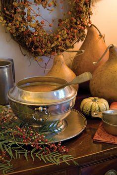 A Collection of Pumpkin Recipes - Autumn Bisque, Harvest Salad with Bacon Vinaigrette, Spiced Dinner Rolls, Walnut Caramel Butter, Coconut Pumpkin Tart - Victoria Magazine