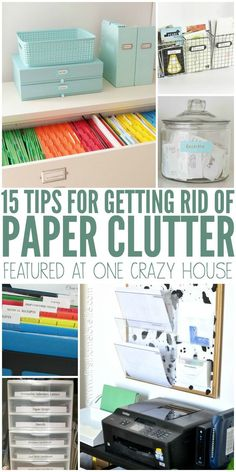 Finally some cute and affordable ways to get rid of the paper clutter in my house! Lots of ideas for deciding what to keep and where to keep it.