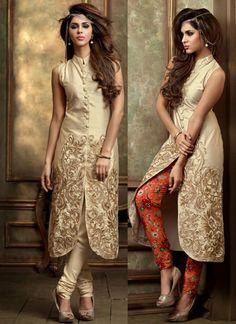 Diwali Special Cream Pant Style Salwar Kameez -- Something to run in.