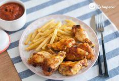 Alitas de pollo al horno con salsa barbacoa casera Salsa Barbacoa Casera, Pollo Guisado, Cauliflower, Shrimp, Food And Drink, Chicken, Meat, Vegetables, Recipes