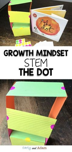 Growth Mindset STEM: Teach your students about growth mindset with the book, The Dot by Peter H. Students complete a STEM challenge to build the tallest tower out of dot stickers and index cards. Dot Day, Steam Activities, Book Activities, Preschool Books, Summer Activities, Stem Science, Science Crafts, Science Projects, Stem Challenges