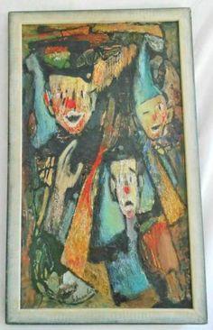 Vintage Mid Century Modern Painting Clowns Ernestine Shissler Circus Western
