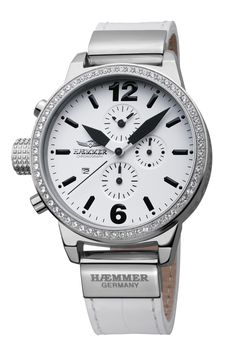 #HaemmerWatches Available At www.chronowatchcompany.com      DHC-04 STELLA                                                                        Quartz chronograph  Stainless steel case with 45mm radius brightly polished Swar  White calfskin strap (croco embossing)  Belt clasp  Hardened mineral glass  Screw-down crown & case back  White dial  Deep-black hands  Date function  100 meters water resistant. Available at www.chronowatchcompany.com