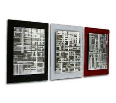 Black, White, Red Modern Art U0027Rift Zonesu0027   50x24 In.  . Silver Wall DecorSilver  ...