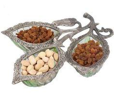 Buy 3 Leaf Dry Fruit Glass Decorative Platter Online shopping India online shopping India