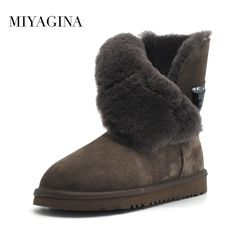 945dca71ac8 Free Shipping New Arrival 100% Real Fur Classic Mujer Botas Waterproof  Genuine Cowhide Leather Snow Boots Winter Shoes for Women-in Ankle Boots  from Shoes ...