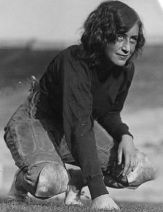 Mary Crawford, guard on the Occidental Baby Tigers girls' football team, 1928