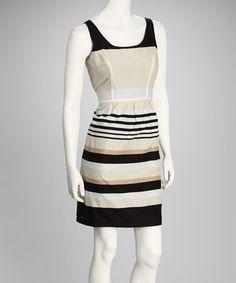 Take a look at this Black & Taupe Drop Waist Dress by Madison Paige on #zulily today!
