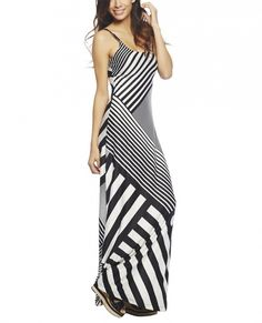 Wet Seal Women's Striped Maxi Dress Black/White