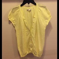 Short sleeve cardigan sweater Old Navy, neon yellow, Short sleeved button Cardigan.  Like new condition. Perfect for spring. Old Navy Sweaters Cardigans