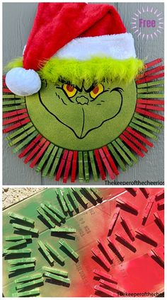 Clothpin Christmas Wreath DIY Tutorials - Grinch Clothespin Pizza Pan Wreath by The Tomlinson's Christmas Craft: Clothespin Christmas Wreath DIY Tutorials: Clothpin snowman, grinch, Santa Christmas wreath DIY Ideas, inspirations, tutorial Grinch Christmas Decorations, Dollar Tree Christmas, Dollar Tree Crafts, Holiday Wreaths, Diy Christmas Gifts, Christmas Projects, Christmas Ornaments, Santa Christmas, Winter Wreaths