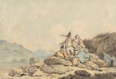 Francis Wheatley, 1747–1801, British, Soldiers and Country Women, undated, Pen and black ink with watercolor on medium, smooth, cream wove paper, Yale Center for British Art, Paul Mellon Collection
