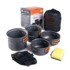 Outdoor Tablewares Camping & Hiking Fine Boruit 1-2 People Aluminmum Portable Outdoor Camping Hiking Cookware Backpacking Cooking Picnic Bowl Pot Pan Kits