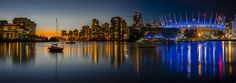 false creek at night and sunset in Vancouver. Vancouver is a wonderful city on Canada's west coast. Vancouver City, Boat Lights, Night Shot, City Architecture, Beautiful Sunset, West Coast, New York Skyline, City Sunset, Long Exposure