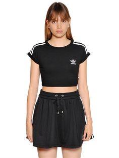 2ed845c1d38 ADIDAS ORIGINALS 3 Stripes Cropped Cotton Jersey T-Shirt