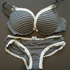 Grey cotton Tommy Hill figure bra and pantie set Soft grey and white cotton pushup bra& pantie set. Pantie is size small Tommy Hilfiger Intimates & Sleepwear Bras