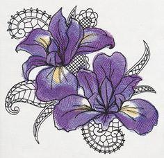 Petals and Lace - Iris design (UT10370) from UrbanThreads.com