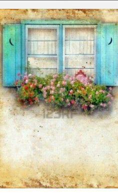 Azul con flores