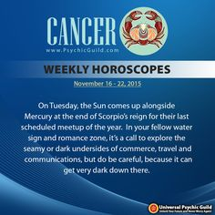 #CANCER - In your spiritual and higher thinking zone, this could make your dreams that much more realistic and you will find your optimism lifts considerably by the end of the week. #WeeklyHoroscopes #Horoscopes