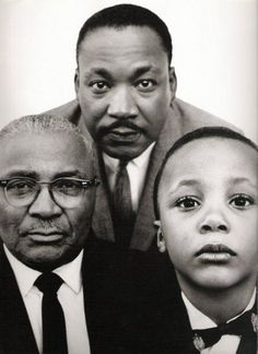 Martin Luther King, Jr with his father and son, Atlanta, Georgia, March 22, 1963. Photo by Richard Avedon
