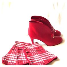 Never Worn!  Red Leather Booties w/plaid Sleeves. Red Booties with approximately 3-1/2 inch heel. Tie embellishment and  plaid bootie sleeves to change the look.  Never worn! Hot in Hollywood Shoes Ankle Boots & Booties