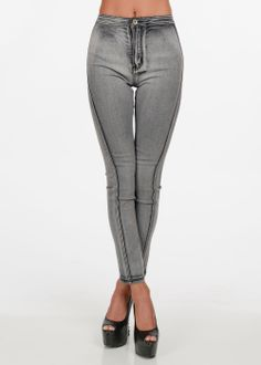 Fashion Jeans-High Rise Skinny Jean-Skinny Grey Jean For Curvy Women #modaxpress #style #fashion #highwaisted