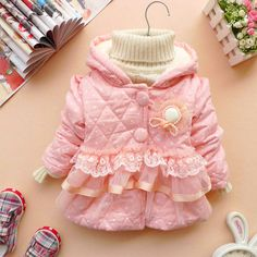 12m-3y baby clothes baby girl clothes winter coat kid pink warm coat. $24.99, via Etsy.