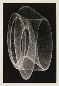 1970. This screenprint, by Herbert W. Franke (born 1927, Austria), is from a photograph of the screen of a cathode-ray oscilloscope. Oscilloscopes produce electrical signals that are displayed visually on the fluorescent screen of a cathode ray tube.