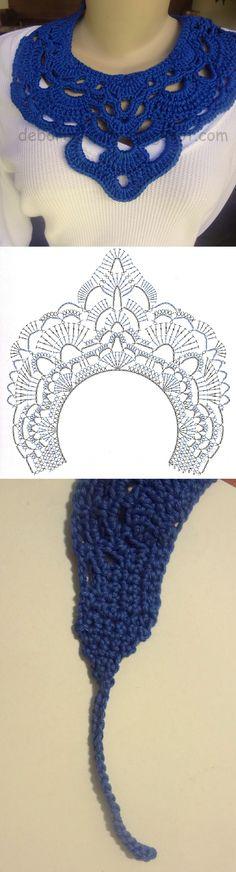 Collar de croche tejido Azul