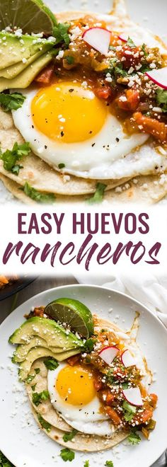 This Easy Huevos Rancheros recipe features crispy corn tortillas topped with fried eggs covered in a spicy tomato jalapeno salsa. (vegetarian, gluten free) via Mexican Brunch, Mexican Breakfast Recipes, Healthy Breakfast Recipes, Clean Eating Recipes, Brunch Recipes, Mexican Food Recipes, Healthy Recipes, Brunch Menu, Sunday Brunch