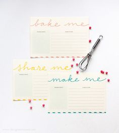 Printable recipe cards from Design Eat Repeat | How About Orange