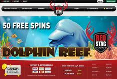 Claim your 50 Free Spins promotion on Dolphin Reef Slot in November for all new players for Red Stag Casino with bonus code: available for play on your PC, tablet, or mobile phoneHow to re. Free Casino Slot Games, Online Casino Slots, Online Casino Games, Best Online Casino, Online Casino Bonus, Online Games, Dolphin Reef, Casino Room, Play Free Slots
