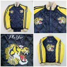 Vintage Japanese PLAYER Quilted Roaring Tiger Yellow Navy Blue Embroidered Sukajan Souvenir Jacket - Japan Lover Me Store