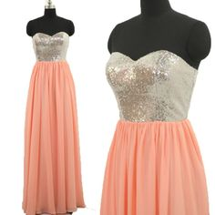 In Stock Ready to ship 2016 Cheap Promotion A-Line Sweetheart Sequins Chiffon Pink Long Bridesmaid Dress for women