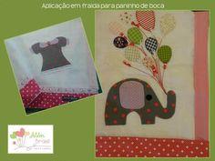 Aplicação em tecido de fralda para paninho de boca - para meninas - Além Brasil …