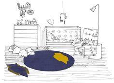 """ROUND RUG FOR KIDS """"Quai de la Mégisserie"""" Perspective Wool & alpaca - Diameter 170cm http://www.untapisaparis.fr/shop/quai-de-la-megisserie-2/"""