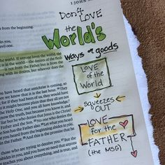 """""""I love this verse in the Message!! Don't love the world's ways or goods!!! Love OF the world squeezes OUT love FOR the Father!"""""""