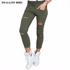 023235c0a 2017 new women high waist 95% cotton elastic belt pencil pants. Denim  JeansJeans SlimHigh JeansJeans SkinnySlim PantsTrouser PantsHigh Waist  JeansRipped ...