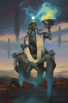 "spassundspiele: ""Phanuel, Angel of Truth – fantasy character concept by Peter Mohrbacher "" Dark Fantasy Art, Fantasy Artwork, Fantasy World, Space Fantasy, Fantasy Creatures, Mythical Creatures, Character Inspiration, Character Art, Arte Obscura"