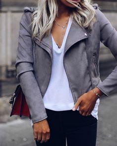 grey leather jacket + white tee + black jeans