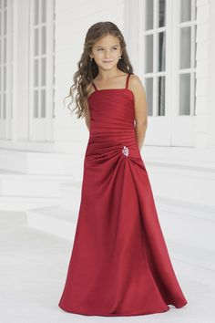 Nectarean Ruching Satin Junior Floor-length Beading Spaghetti Straps A-line Bridesmaid Dresses