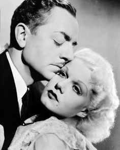 """Jean Harlow and William Powell In he starred with Jean Harlow in """"Reckless"""". Soon a serious romance developed between them, but Harlow died at the age of 26 in June 1937 before they could marry. Hollywood Couples, Old Hollywood Movies, Golden Age Of Hollywood, Vintage Hollywood, Hollywood Stars, Classic Hollywood, Hollywood Glamour, Hollywood Pictures, Hollywood Men"""