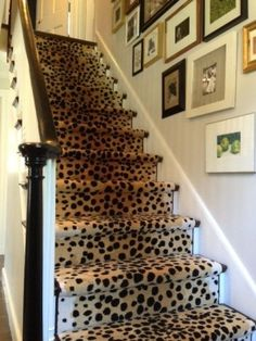 Loving Erin's new stair runner, and her gallery wall, too. Erin Gates Design // my leopard stairs Interior Exterior, Home Interior, Interior Decorating, Hallway Decorating, Interior Architecture, Leopard Carpet, Leopard Rug, Leopard Pattern, Snow Leopard