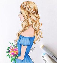 Good morning Ocean blue  #ocean #vacation #hair #hairgoals #sandiego #sketch #art #drawing #copic #copicmarkers #fashionillustration #fashionillustrator #rongrongdevoe #braids #blonde